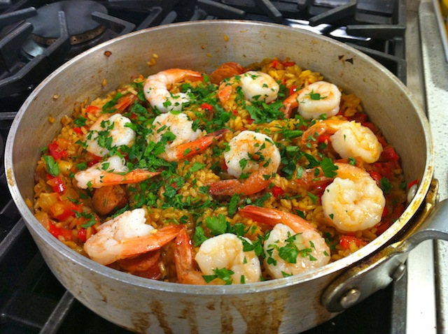 Saffron Rice with Chorizo and Shrimp (Arroz con Chorizo y Camarones ...